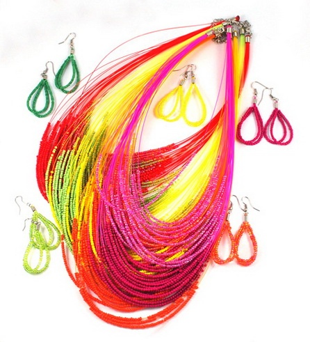 Colorful Seed Beads Jewelry Sets, Necklace and Earrings