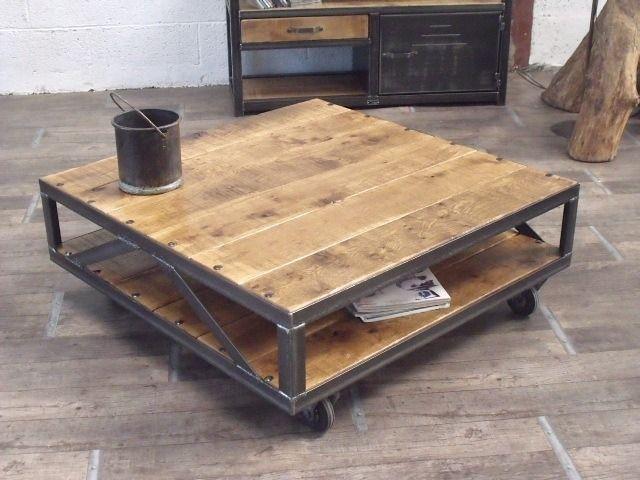 Table basse industrielle carrée bois métal sur mesure