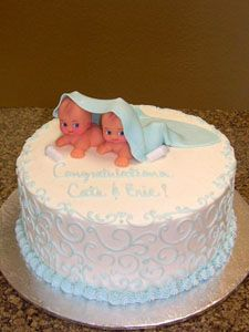 Baby Shower cake ideas for triplets | cake with edible for a baby showers girl boy baby shower cakes