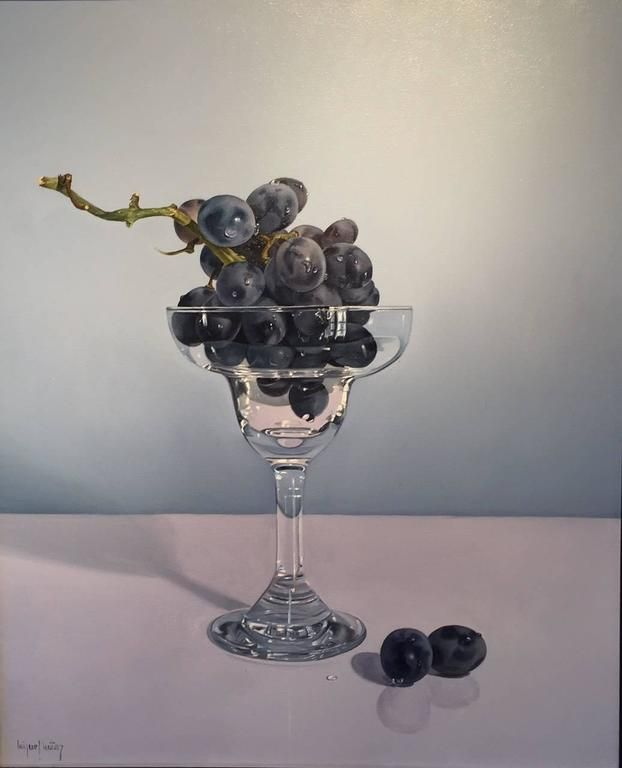 Miguel Angel Nuñez - Glass with Grapes   1stdibs.com