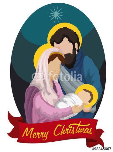 Nativity Scene with Baby Jesus, Joseph and virgin Mary, Vector Illustration