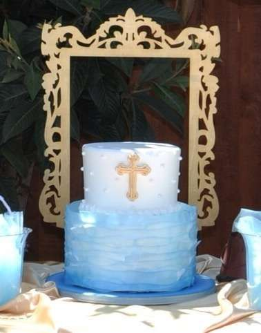 Angel themed Baptism Party ruffle ombre cake!  See more party planning ideas at CatchMyParty.com!
