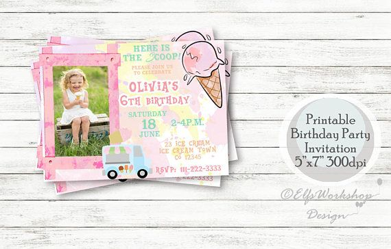 Ice cream birthday invitation Ice cream birthday party ice