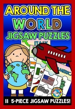 #AROUND #THE #WORLD #JIGSAW #PUZZLES: INCLUDING #MAP, #FLAG, KIDS WITH #TRADITIONAL #COSTUMES, FAMOUS #BUILDINGS OR #PLACES AND MORE! Do you want your students to get to know more about different #countries and #cultures? These fun puzzles will instigate questions and discussions about different cultures, places, traditional clothing, buildings and more! #GEOGRAPHY