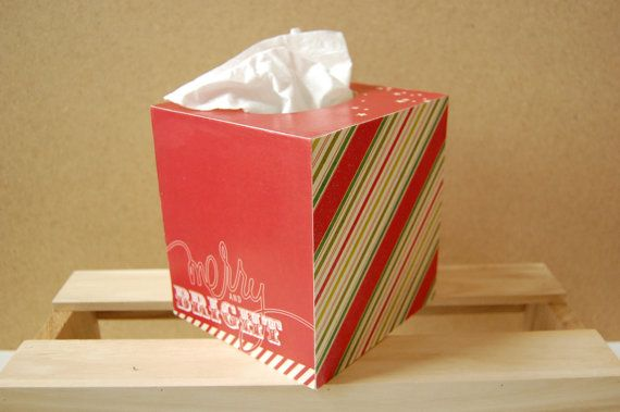 Merry & Bright Tissue Box by PaperedWoods on Etsy