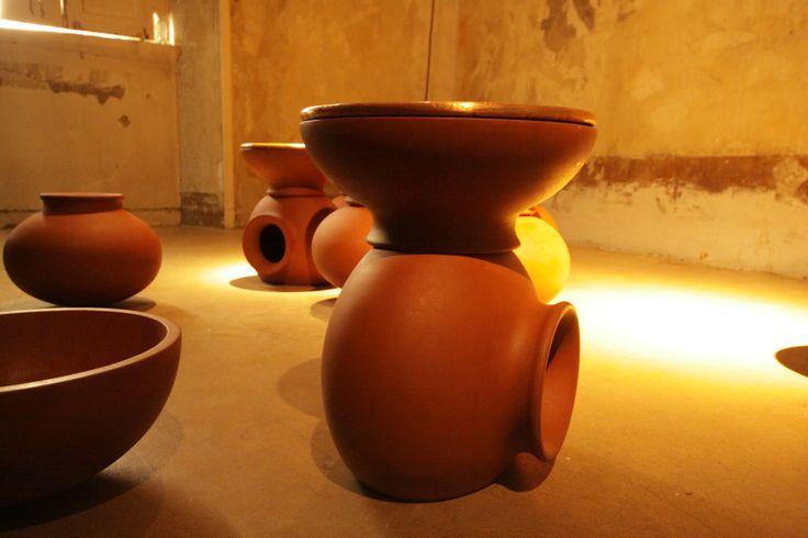 Gunjan Gupta, Matka Table   2013 Numbered Limited Edition of n. 10 sets (30 pieces), Copper, wood, red sandstone, D 30,48 x H 38,10 cm, Country of realization-India #gunjangupta #matkatable #limitededition #copper #wood #redsandstone #madeinindia #indiandesigner #erastudioapartmentgallery #milan #italy #interiordesign #furniture #table #detail #erastudio #design #gallery #collectibledesign #collectible