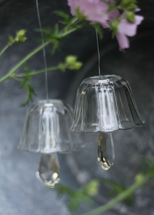 garden bells made from bits and bobs of glass using chandelier prisms as clappers