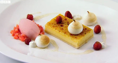 Elderflower and lemon tart, strawberry sorbet and meringues by Nathan Outlaw from BBC2's Great British Menu.  Blog post by @Monica Forghani Forghani Forghani Forghani Forghani Shaw
