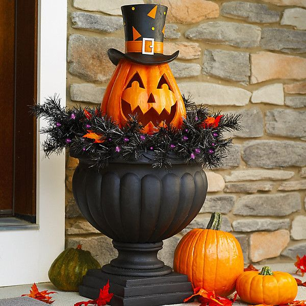 Improvements Lighted Pumpkin Halloween Yard Decoration (675.615 IDR) ❤ liked on Polyvore featuring home, home decor, holiday decorations, halloween pathway lights, jack-o-lantern stakes, battery powered lanterns, halloween lanterns, pumpkin lantern, halloween pumpkin lanterns and lighted home decor