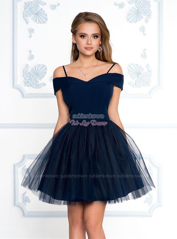 Sukienkowo Com Scarlet Rozkloszowana Sukienka Bez Ramion Z Tiulem Granatowa Dresses Homecoming Dresses Pretty Dresses