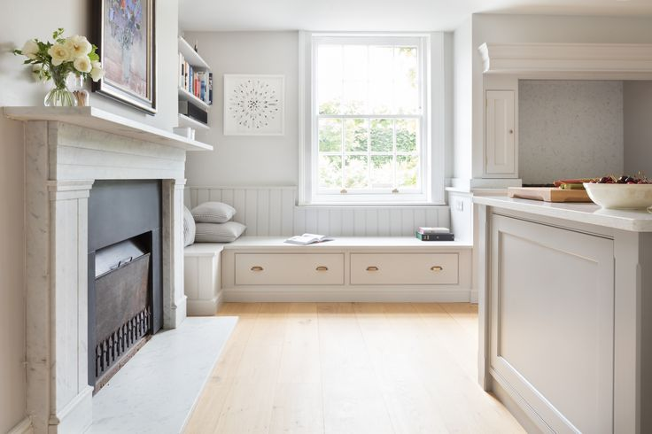 Georgian Farmhouse Kitchen, Hampshire - Humphrey Munson Kitchens - banquette seating with drawers below.