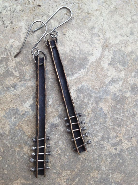 rustic bliss: textured and oxidized brass earrings with sterling silver rivets... Studio Luna Verde