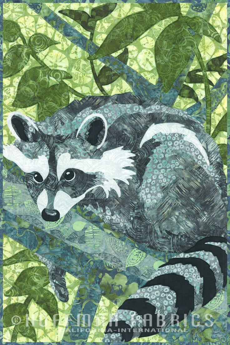 Hoffman Fabrics Wild 1 Treetop Raccoon Quilt Kit
