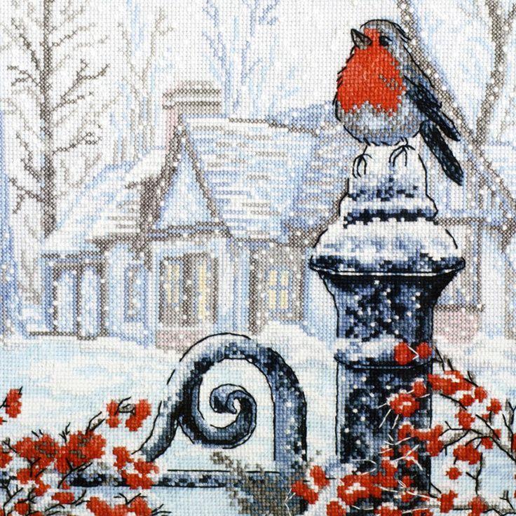 Скачать Вышивка «Рождественское утро» бесплатно. А также другие схемы вышивок в разделах: , Houses, Other, Winter, Birds, Christmas, Rural landscape, Berries