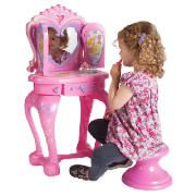 DISNEY Princess Light & Sound Vanity Unit  Perfect for when your little princess is getting ready for the show!  The Disney Princess Vanity Unit includes 11 beauty accessories, the hearts light up and you open the doors to hear magical sounds. Warning: Suitable from 3 years. Requires 3x AA batteries (cat no. 203-6267).  http://www.comparestoreprices.co.uk/fancy-dress-costumes/disney-princess-light-&-sound-vanity-unit.asp