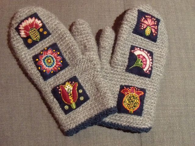 Wool mittens with embroidery from Uppsala Sweden.