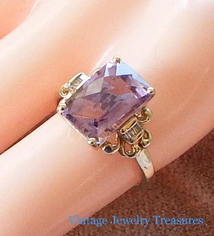 Estate Vintage Cushion Cut Amethyst Diamond 10K Yellow Gold Ring Size 7 #Solitaire