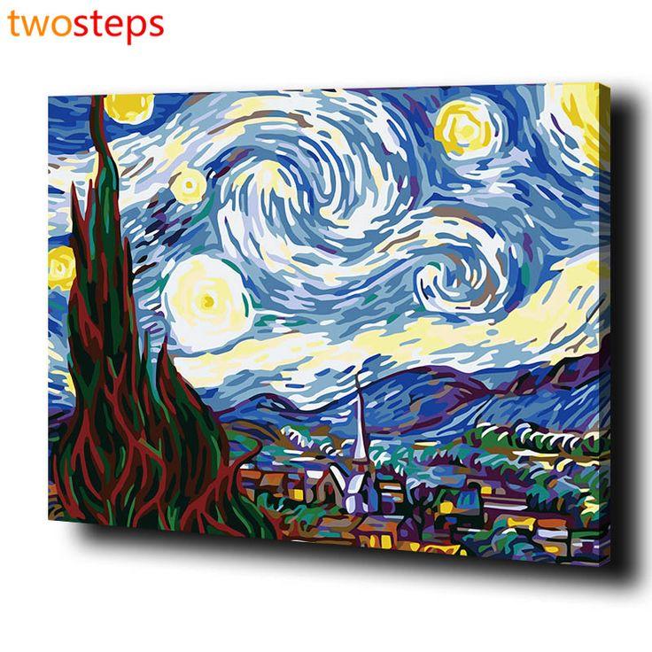 TwoSteps Frameless Lona Pintura A Óleo Digital DIY Por Números Colorir Por Números Pintura Acrílica Pelo Número de Van Gogh Noite Estrelada(China (Mainland))