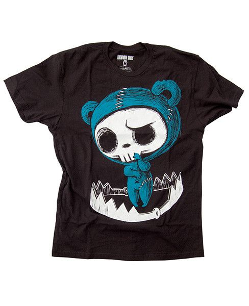 This short sleeve Akumu Ink crewneck features hand-drawn artwork of a stitched up little bear standing in a trap. Somehow he keeps finding himself in dangerous situations. Our small coffin shaped logo