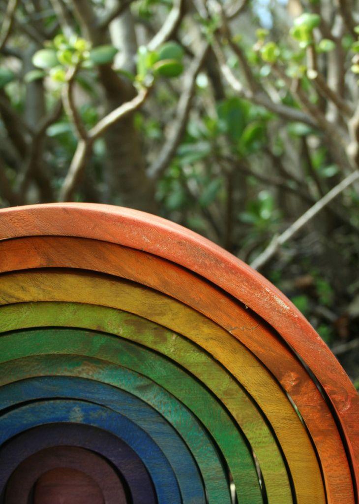 Wooden rainbow arches