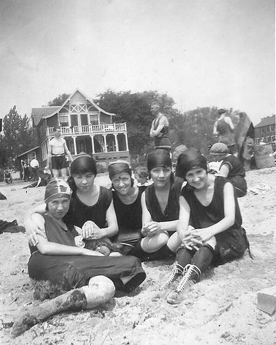 A group of girlfriends on the beach in the 1920s....