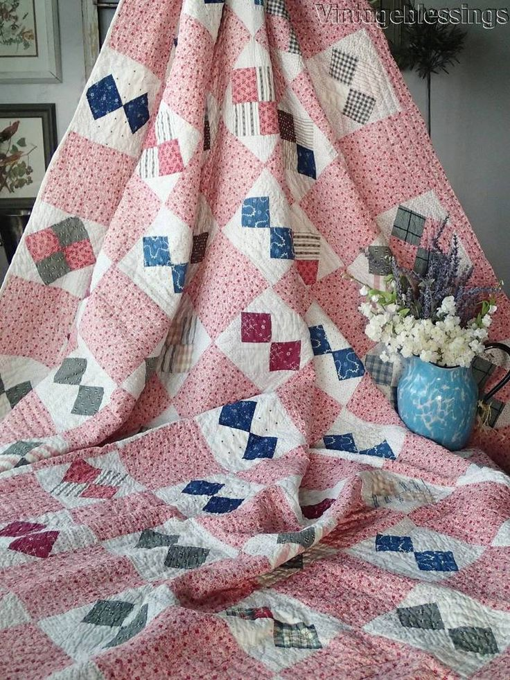 "ANTIQUE c1880 FARMHOUSE Four Patch QUILT 90"" x 78"" 