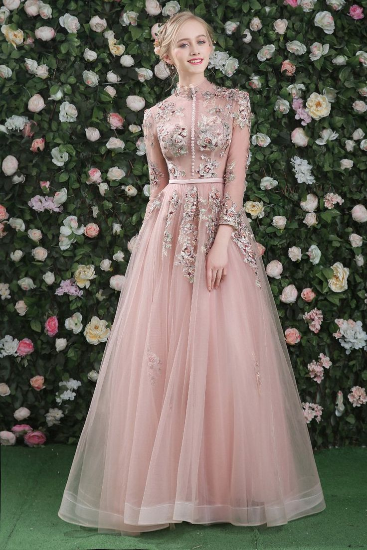 A-line Prom Dress Pink Long Lace Cheap Prom Dress # VB1191 in 2020 | Prom dresses long pink, Long sleeve evening dresses, Evening dresses