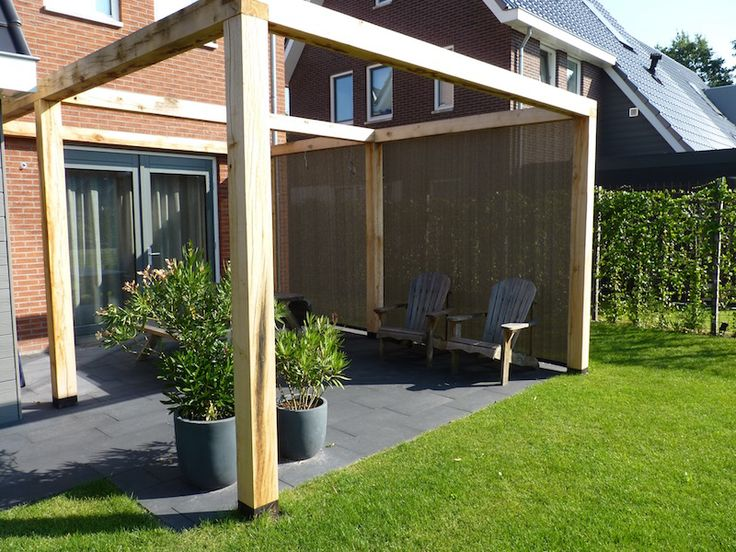 Verschillende mogelijkheden voor uw verandazeil van HDPE screendoek bij verandazeilen.nu. Al vanaf 45,- per m2! Demotuin in Midden Nederland!