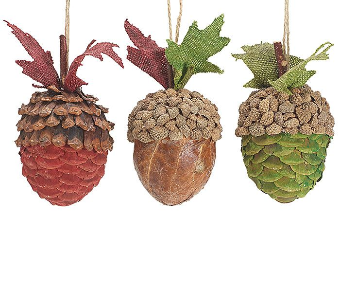 Add our Acorn Ornaments with warm colors to your fall decorations! #burtonandburton