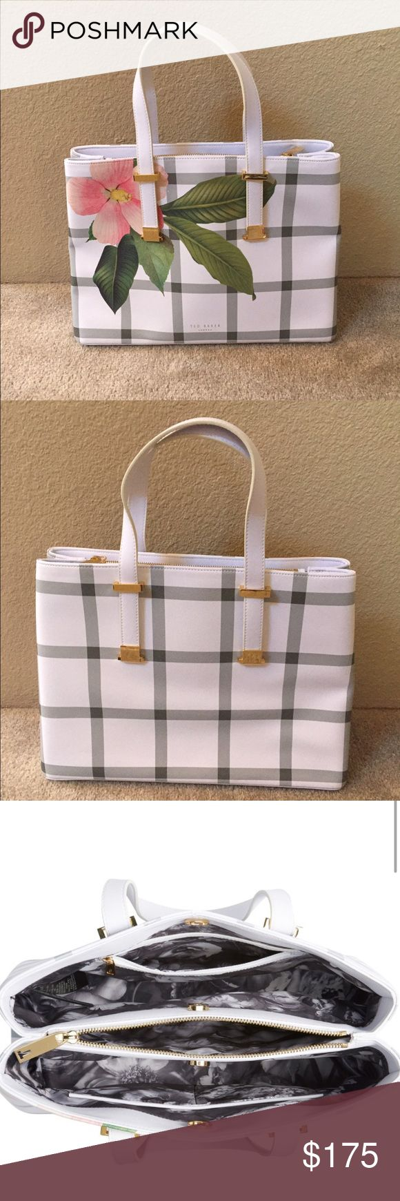 Ted Baker plaid bag Beautiful Ted Baker shopper bag. Brand new, perfect for spring. Inside print is an easy to clean material and the middle pouch is padded, so would be perfect for phone or iPad storage. Price is firm due to posh fees. Ted Baker Bags Totes
