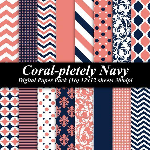 Coral-pletely Navy Digital Paper Pack (16) 12x12 sheets 300 dpi scrapbooking invitations birthday blue orange wedding chevron on Etsy, $4.00
