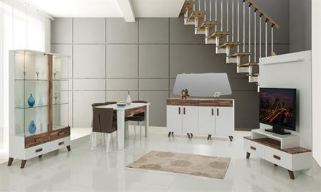 -Nilay modern yemek odası takımı içerisinde gümüşlük, konsol, tv sehpası, masa ve 6 sandalye bulunmaktadır. -Şık ve kullanışlı bir takım olan Nilay yemek odası fonksiyonel özelliklere sahip bir modeldir.