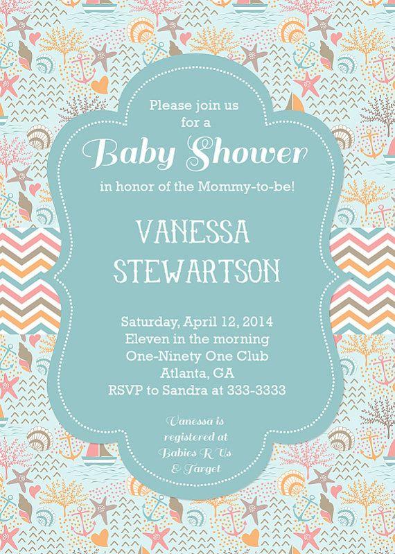 Ocean Baby Shower Invitation, Beach Baby Shower Invite, Shell Baby Shower,  Ocean Theme Shower, Nautical, Sailboats