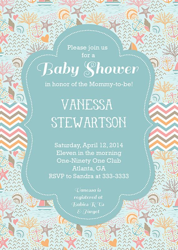 Beach Ocean Shells Baby Shower Invitations  by PartyPopInvites, $17.00