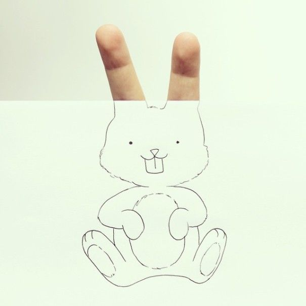 Artist Creates Cute Drawings Out Of His Own Fingers -  BoredPanda