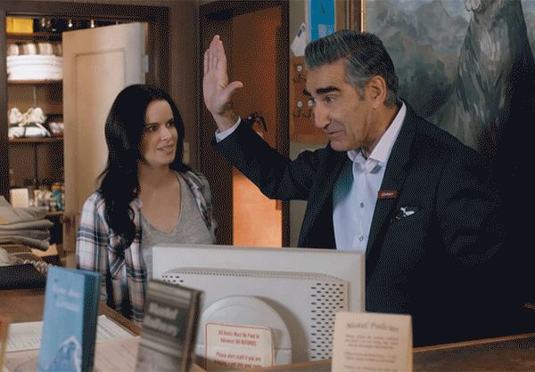 New party member! Tags: funny comedy yeah high five humour schitts creek cbc canadian schittscreek eugene levy stevie johnny rose emily hampshire hi five high 5 jims dad hi 5 budd big day