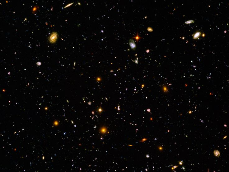 Hubble Ultra Deep Field.  There are 10,000 galaxies in this tiny patch of sky (1/10th the size of a full moon) - each a home to billions of stars.