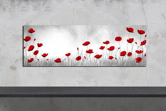 POPPY FIELD // CHAMPS DE COQUELICOTS    This is an enhanced high quality giclee reproduction of my original painting.  What does this mean ? It means I printed, on canvas, a reproduction of my own work and then painted over it making each and every one HAND-PAINTED and UNIQUE ( at a low