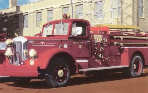 Mack fire truck, Chicago, circa 1950.