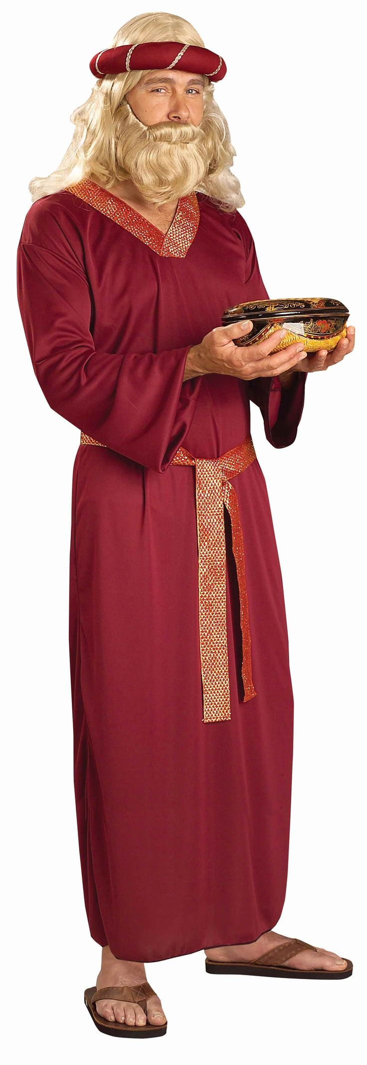 Wise Man - Burgundy One Piece, Attached Belt, and Head Piece. Wig and Beard Sold Seperately.