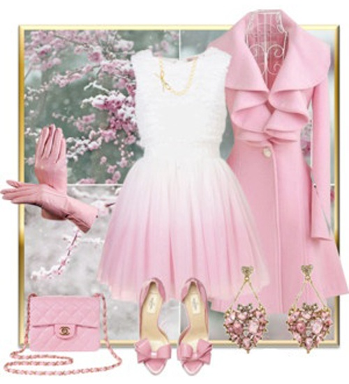 girly pink outfit  . Makes me think of something Audrey Hepburn would wear