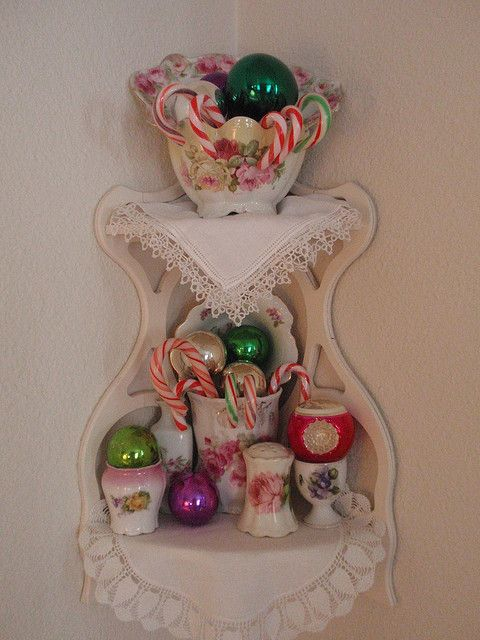 Corner shelf with ornaments candy canes christmas
