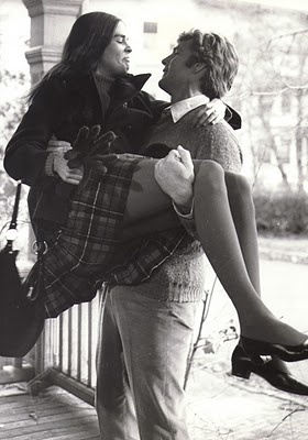 Ali MacGraw and Ryan O'Neal in Love Story 1971.  Noteworthy: they danced.