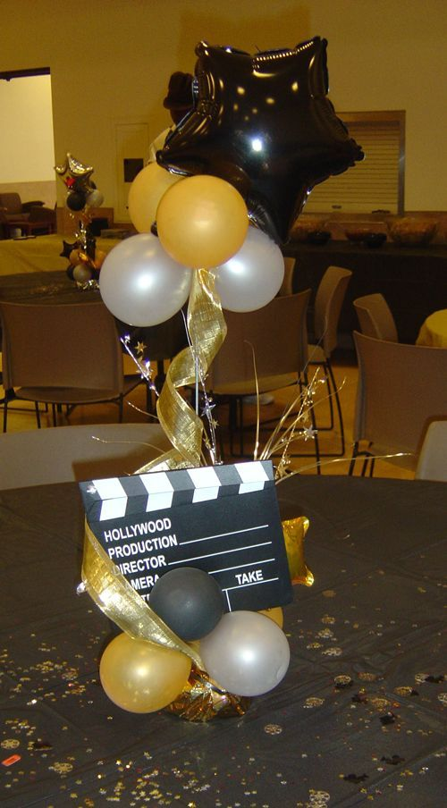 Centerpiece for Broadway theme party (replacing movie board with Playbill).  Could also work for Oscar theme party
