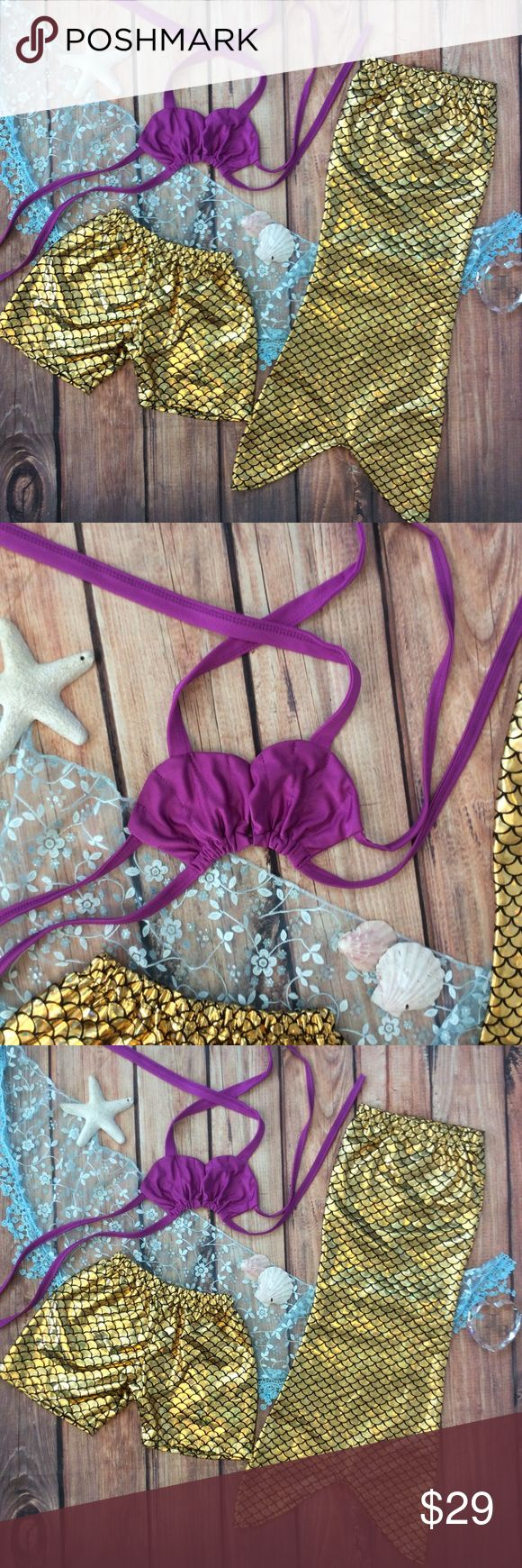 Toddler Girl Little Mermaid Purple & Gold Swimsuit Very cute little mermaid princess swimwear set. Includes purple bikini shell shaped top, holographic gold scale patterned swim shorts and mermaid coverup tail. Perfect for parties and vacations! Swim Bikinis