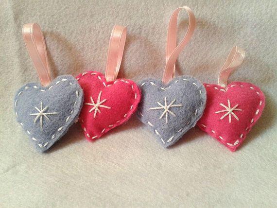 SET 4 Heart Christmas Tree decoration FREE SHIPPING by chiaracat