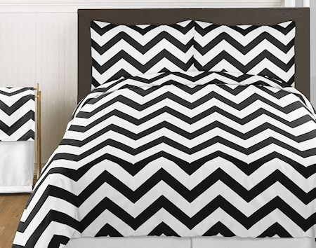 Large black white chevron print comforter bedding kidsroomstore