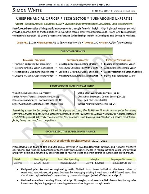 Cfo Sample Resume | Sample Resume And Free Resume Templates