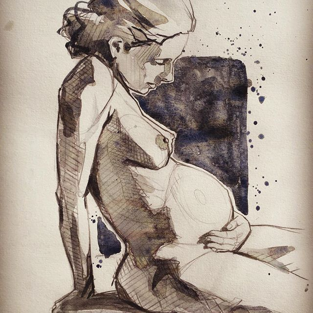 Projet du jour #pregnant #watercolor #sketch #loiseautattoo #faubourgtattooclub