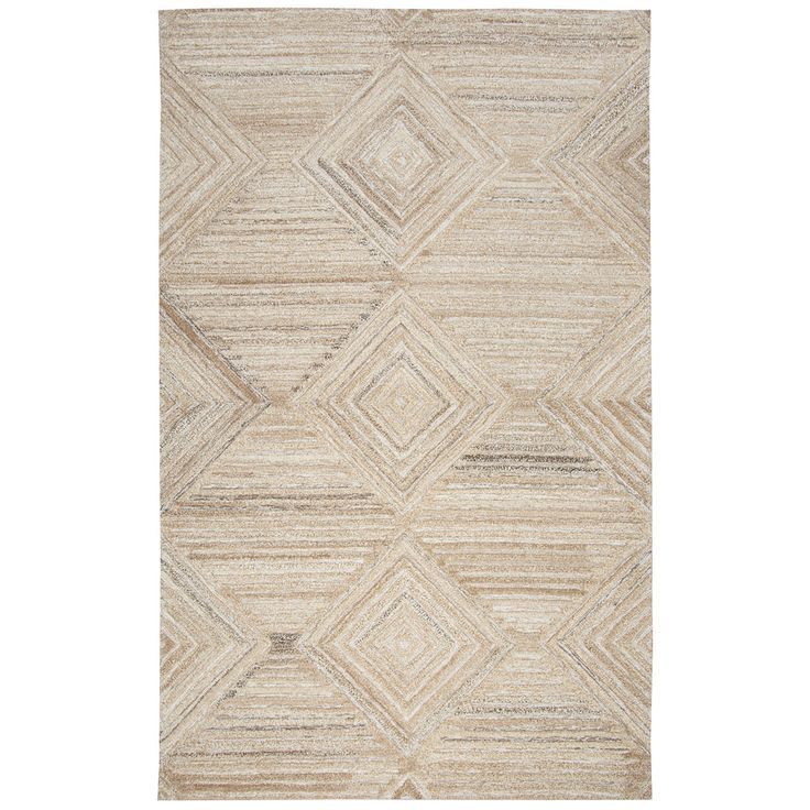 Rizzy Home Suffolk Tan Wool Hand-tufted Geometric and Solid Rug (3' x 5') (SK335A TAN 3' X 5' Tufted Geometric/Solid Rugs), Size 3' x 5'